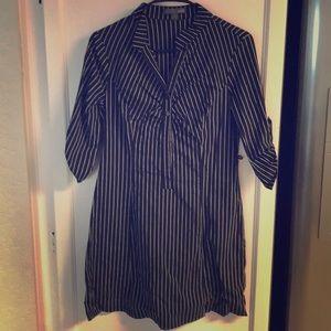 Forever 21 Black Gray Stripe Sleeve Dress Top M